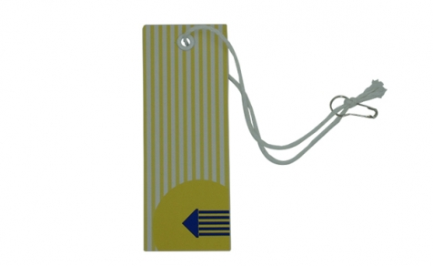 Rectangular hang tag with cotton string, pin buckle and metal eyelet