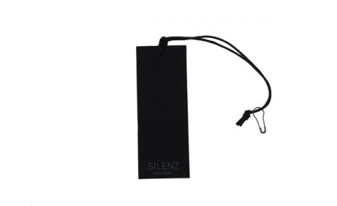 Hang tag with black elastic and pin